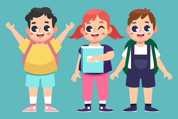 フラットなデザインの子供たちが学校のコンセプトに戻る