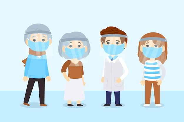 フェイスシールドとマスクを使用している人々