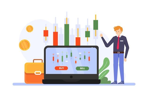 証券取引所データイラスト