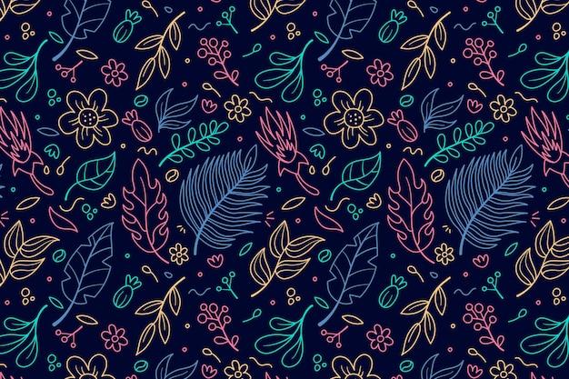 Контур листьев и цветочные бесшовные шаблон