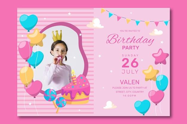 幸せな誕生日パーティーの招待状のテンプレート