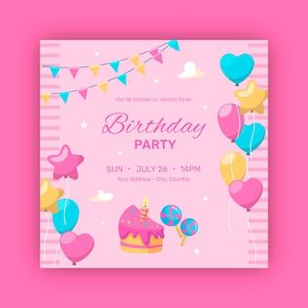 幸せな誕生日パーティーの風船と花輪