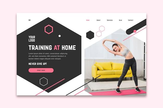 Домашний фитнес шаблон баннера