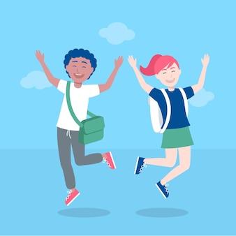 学校のコンセプトに戻ってジャンプする子供
