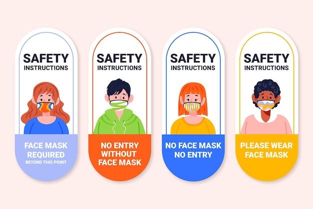 フェイスマスクが必要な標識セット