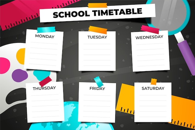 学校の時間割に戻る現実的なデザイン