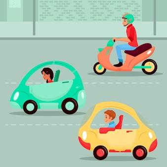 電気輸送を運転する人々