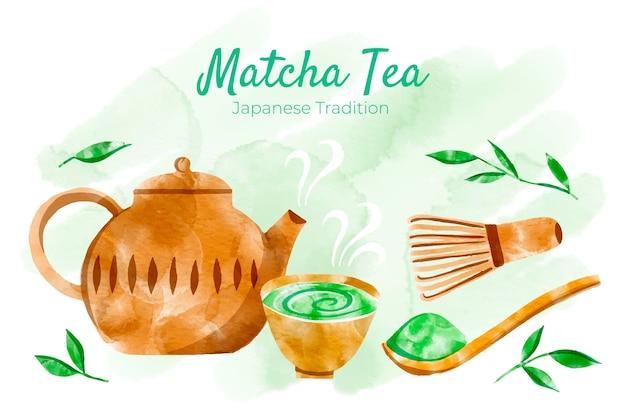 手描き抹茶茶背景