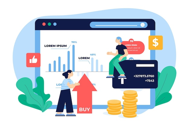フラットなデザインイラスト証券取引所データ