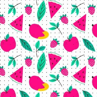 スイカとフルーツパターン