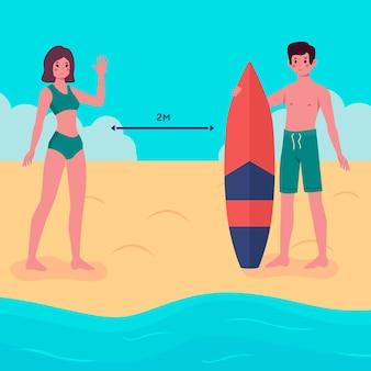 ビーチのコンセプトの社会的距離