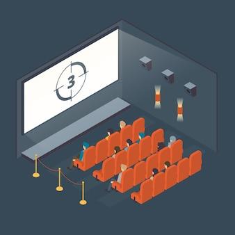 Изометрическая концепция интерьера кинотеатра
