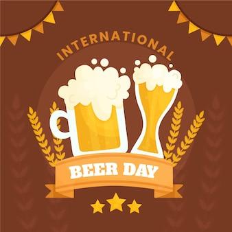 フラットなデザインの国際ビールデーのコンセプト