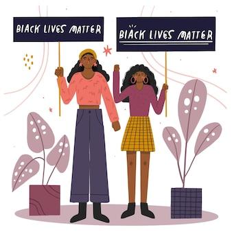 黒人の生活に抗議する女性はプラカードを重要視する