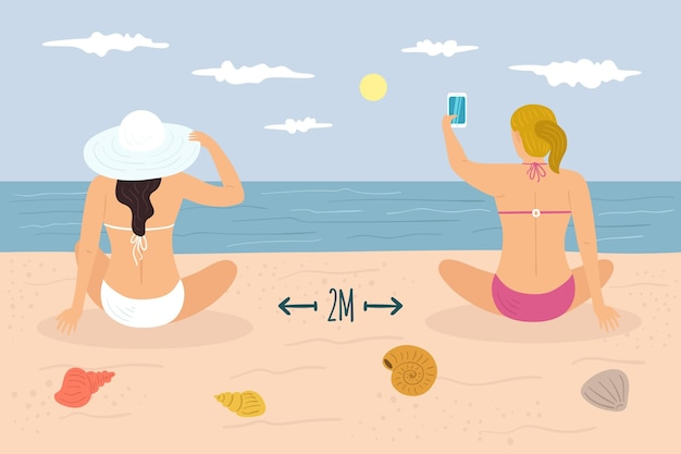Социальное дистанцирование на пляже