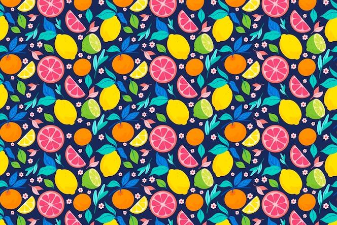 柑橘類のフルーツパターンデザイン