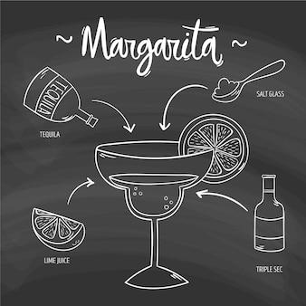 黒板にマルガリータのアルコールカクテルレシピ
