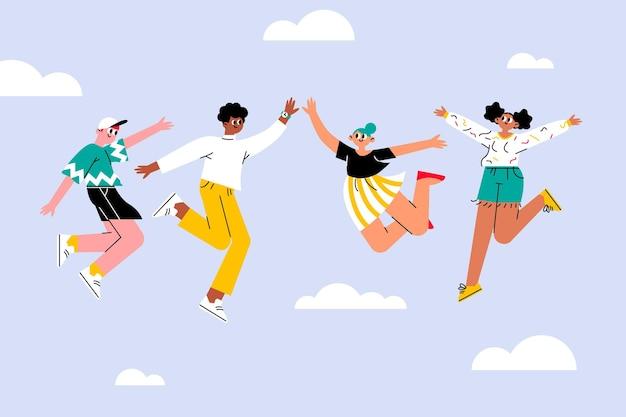 ジャンプの人々と手描きの青年日