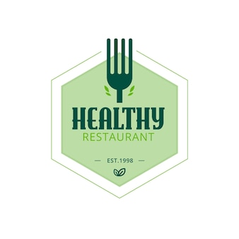 ヘルシーレストランのロゴのテンプレート