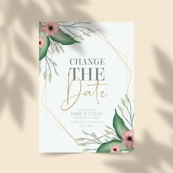 水彩カードデザインで延期された結婚式