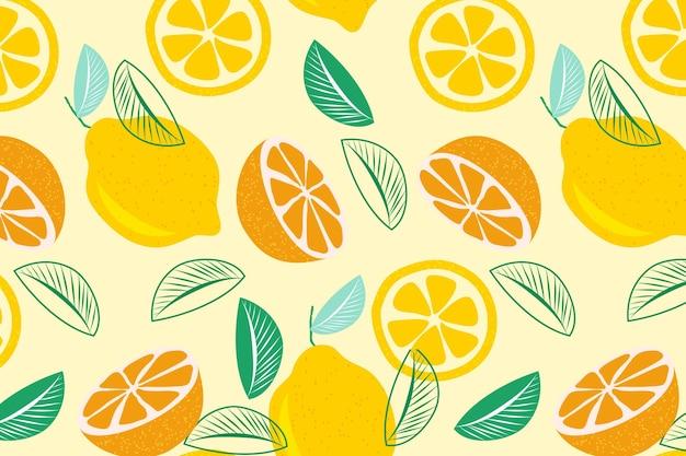 柑橘系の果物のシームレスパターンの半分
