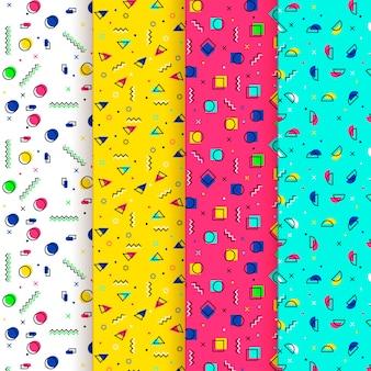 抽象的なドットと形のメンフィスのシームレスパターン