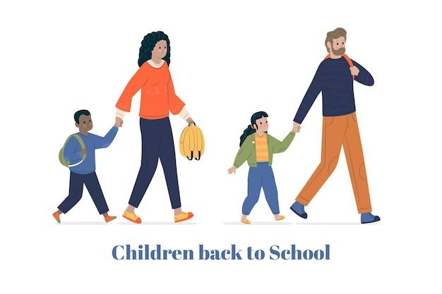 両親と学校のコンセプトに戻る