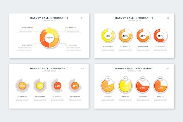 Реалистичные харви шариковые диаграммы инфографики коллекции