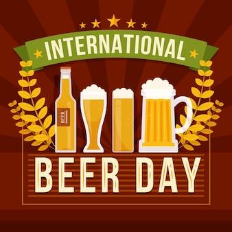 Международный день пива с плоским дизайном