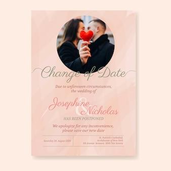 Ручной обращается отложенный шаблон свадебной открытки