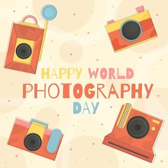 Плоский дизайн концепции мировой фотографии день