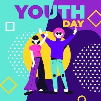 フラットなデザインの若者の日のコンセプト