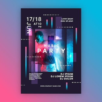 パーティーオールナイトミュージックイベントポスターテンプレート