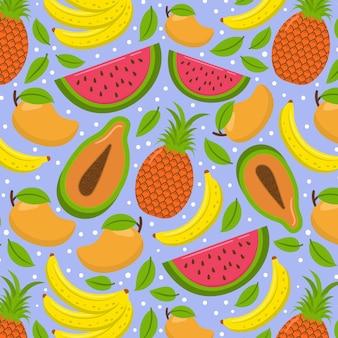 Экзотические летние фрукты бесшовные модели