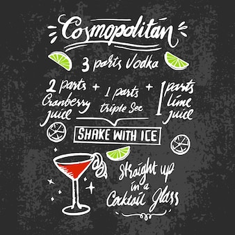 黒板に国際色豊かなアルコールカクテルレシピ