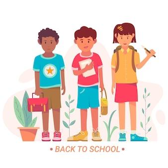 フラットなデザインで学校に戻る子供