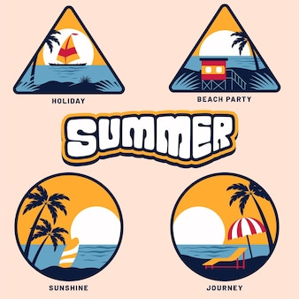 Плоская коллекция летних значков