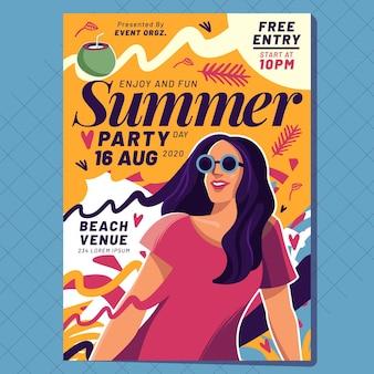 Плоский дизайн шаблона летней вечеринки