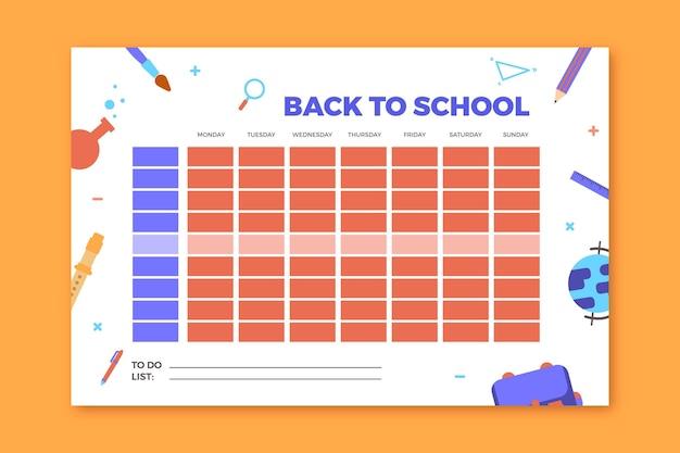 Школьное расписание плоский дизайн