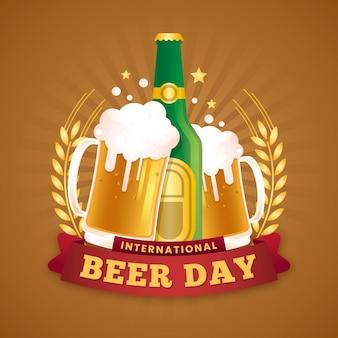 Плоский дизайн международный день пива концепция