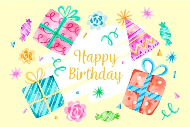 Иллюстрированный акварельный фон дня рождения