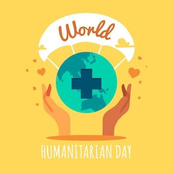 Плоский дизайн мир гуманитарной концепции дня