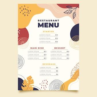 Шаблон меню ресторана