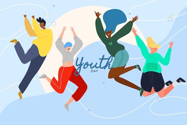 手描きの青年日-ジャンプする人々