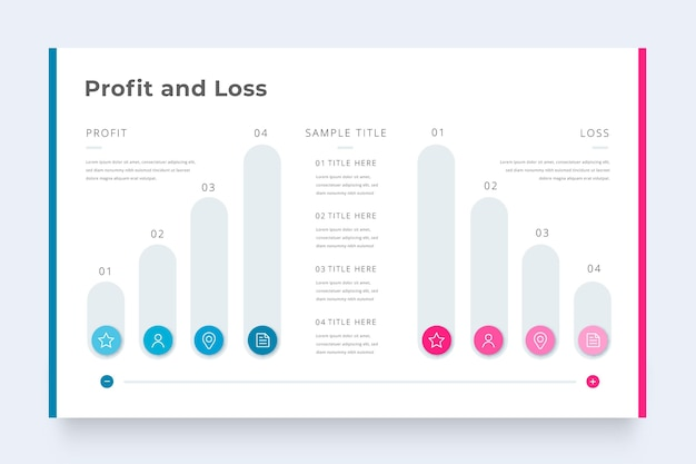 Бизнес инфографики шаблонов прибылей и убытков