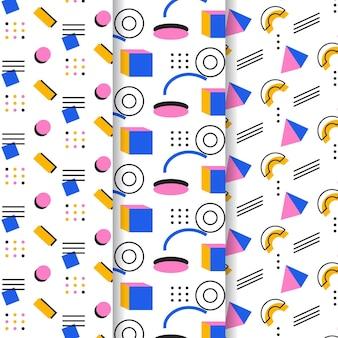 小さな幾何学図形メンフィスシームレスパターンテンプレート