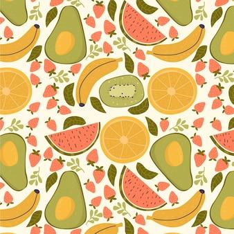 アボカドとフルーツパターン