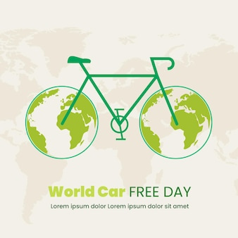 フラットなデザインの世界の車の無料日