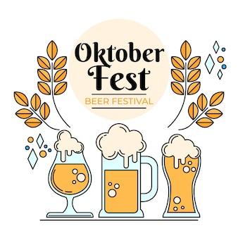 Различные бокалы, наполненные пивом октоберфест