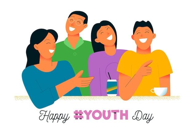 青年デーイベントを笑う若者